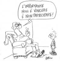 """VIGNETTA Un padre al bambino: """"L'importante non è vincere, è non partecipare!"""". Vignetta di Vauro, uscita sul """"Manifesto"""", a commento del mancato ragg"""
