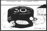 """VIGNETTA Marco Pannella ed Emma Bonino - in veste di topi - di fronte a una grande forma di formaggio su cui si legge: """"Statuto stagionato - 30 anni d"""