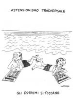 """VIGNETTA Titolo: """"Astensionismo trasversale"""". Berlusconi e Bertinotti, sulla spiaggia, leggono i loro quotidiani di riferimento (""""Il Giornale"""" e """"Libe"""