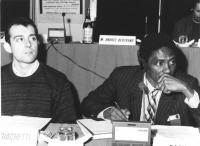 Roberto Giachetti e Basile Guissou (presumibilmente nel corso di un Consiglio Federale del Partito) (BN)