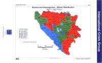 Cartina di Bosnia ed Erzegovina, divisa per zone di distribuzione etnica, aggiornata al 1998.