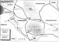Cartina dell'ex Unione Sovietica (e della Cecenia), in cui si indica la localizzazione degli oleodotti.