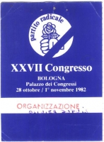 Tessera per la partecipazione al 27° congresso  del Partito Radicale al Palazzo dei Congressi di Bologna, intestata a Olivier Dupuis.