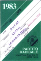 Retro della tessera di iscrizione del 1983 al Partito Radicale transnazionale, intestata a Olivier Dupuis, e firmata dal segretario Marco Pannella e d
