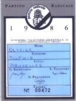 Retro della tessera di iscrizione del 1986 al Partito Radicale, firmata dal segretario Giovanni Negri, dal tesoriere Peppino Calderisi, dal presidente