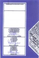 Retro della tessera di iscrizione del 1989 al Partito Radicale, firmata dal segretario Sergio Stanzani, dal tesoriere Paolo Vigevano, dal presidente B