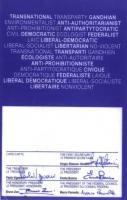 Retro della tessera di iscrizione del 1990 al Partito Radicale, firmata dal primo segretario Sergio Stanzani, dal tesoriere Paolo Vigevano, dal presid