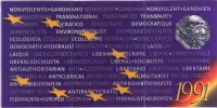 Retro della tessera di iscrizione al Partito radicale transnazionale del 1991.