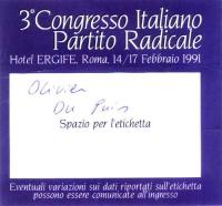 Tessera di ingresso al 3° Congresso Italiano del Partito Radicale, svoltosi all'Hotel Ergife di Roma.