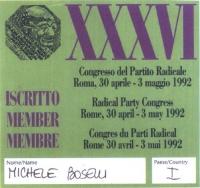 Cartellino di ingresso al 36° Congresso del Partito Radicale, tenutosi a Roma, all'hotel Ergife.