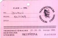 Cartellino di ingresso per un' assemblea di radicali di Croazia, Slovenia e Bosnia-Erzegovina, tenutasi a Zagabria.