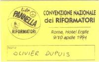 Cartellino di ingresso alla convenzione nazionale della lista Pannella Riformatori, tenutasi a Roma, all'hotel Ergife.
