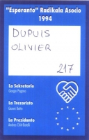 Retro della tessera di iscrizione al 1994 all'ERA (all'Associazione Radicale Esperantista).