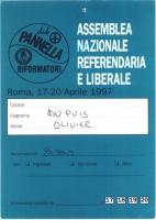 Cartellino di ingresso all'Assemblea Nazionale e Referendaria e Liberale, del movimento dei Club Pannella - Riformatori.