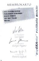 Retro della tessera di iscrizione all'ERA (Associazione Radicale Esperantista), intestata a Olivier Dupuis, e firmata dal presidente Leo Solari, dal s