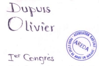 Cartellino di ingresso di Olivier Dupuis per il 1° Congresso dell'AREDA (Association Radicale pour l'Etat de droit en Afrique).