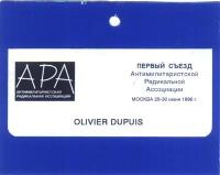 Cartello di ingresso per il 1° Congresso dell'ARA (Associazione Radicale Antimilitarista), intestato a Olivier Dupuis.