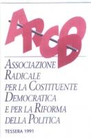 Tessera di iscrizione del 1991 all'ARCOD (Associazione Radicale per la Costituente Democratica e per la Riforma della Politica).