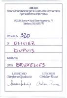 Retro della tessera di iscrizione del 1991 all'ARCOD, intestata a Olivier Dupuis. e firmata dal segretario Gianfranco Spadaccia e dal tesoriere Christ