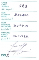 Retro della tessera di iscrizione all'AREDA (Association Radicale pour l'etat de droit en Afrique).