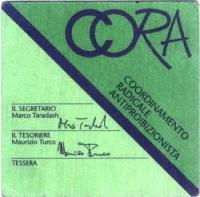 Tessera di iscrizione del 1991 al CORA (Coordinamento Radicale Antiproibizionista), firmata dal segretario Marco Taradash e dal tesoriere Maurizio Tur