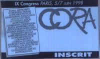 Cartellino di ingresso al 9° congresso del Cora, tenutosi a Parigi dal 5 al 7 giugno del 1998.