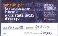 Cartellino di ingresso alla seconda Assemblea dei radicali, tenutasi a Monastier di Treviso dal 10 all'11 aprile 1991.