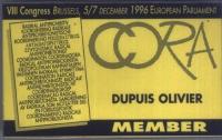 Cartellino di ingresso all'8° Congresso del Cora, tenutosi presso il Parlamento Europeo.