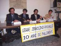 """Convegno in Campidoglio (Sala del Carroccio): """"Legge Jervolino - Vassalli: 10 anni di fallimenti"""". Dietro al tavolo: Gian Domenico Caiazza (avvocato),"""