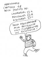 VIGNETTA La vignetta è parte di una serie, ideata da Vincino, che compone un test satirico sui 20 referendum promossi dalla lista Bonino. La serie fu