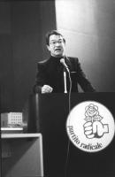 Angelo Pezzana alla tribuna di un congresso radicale (BN)