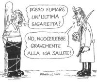 """VIGNETTA Pannella, legato a un palo come un condannato a morte, domanda: """"Posso fumare un'ultima sigaretta?"""". Il suo carnefice Umberto Veronesi rispon"""