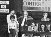 Emma Bonino, Marco Pannella, Mauro Mellini e Adele Faccio, al Parlamento.