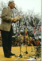 """Erkin Alptekin, leader dell'organizzazione dell'Est Turkestan, presidente dell'UNPO, alla manifestazione: """"Libertà per il Tibet""""."""