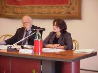 Caterina Bolognese (Directorate of Legal Affairs, Council of Europe) al microfono alla Conferenza intergovernativa sullo statuto di Roma, al Campidogl