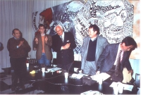 Assemblea pubblica presso la sede del PR a Torre Argentina, del dissidente cinese Wei Jingsheng. Da sinistra: Piero Milio, Olivier Dupuis, Marco  Pann