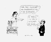 """Francesco Rutelli, nelle vesti di imperatore romano, apostrofa Berlusconi: """"Non puoi candidarti! Hai divorziato e ti sei risposato!"""". Replica Berlusco"""