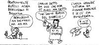 """VIGNETTA  Francesco Rutelli sghignazza: """"Berlusconi ha due mogli, ah ah ah"""".  Commento: """"Carino da uno per 15 anni ha detto: 'Noi siamo quelli del div"""