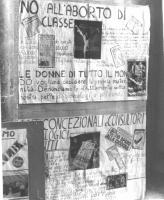 """Cartelloni femministi. Il primo è intitolato: """"NO ALL'ABORTO DI CLASSE""""; il secondo: ANTICONCEZIONALI E CONSULTORI."""
