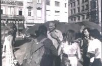 Marco Pannella, nel corso dell'8a marcia antimilitarista Trieste-Aviano.