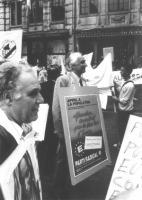 Marco Pannella nel corso di una manifestazione per gli Stati Uniti d'Europa.
