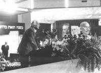 Marco Pannella alla tribuna del 32° Congresso del PR.