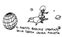 """""""Il Partito Radicale sfrattato dalla terra cambia pianeta"""".  Vignetta di Vincino, uscita su """"Il Foglio"""", dopo la votazione all'ONU, circa un provvedim"""