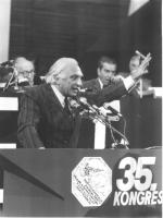 Marco Pannella, alla tribuna del 35° congresso.