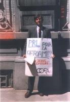 Riccardo Mosca (nel corso di una manifestazione antiproibizionista).