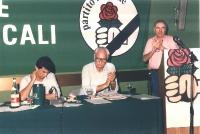 Giovanni Negri, Marco Pannella, ed Enzo Tortora, nel corso dell'assemblea generale degli iscritti radicali.