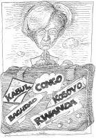 """VIGNETTA Emma Bonino, commissario europeo, solleva un valigione, su cui sono apposte le etichette: """"Kabul"""", """"Congo"""", Baghdad"""", """"Kosovo"""", """"Rwanda"""". (""""T"""