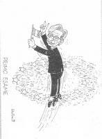 """VIGNETTA Titolo: """"Primo esame"""". Emma Bonino, svetta al di sopra del cerchio di stelle (simbolo dell'Unione Europea), con un gesto di vittoria. Vignett"""