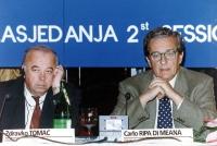 consiglio federale del PR a Zagabria. Zdravko Tomac e Carlo Ripa di Meana