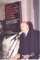 Conferenza Europea sullo Statuto di Roma istitutivo della Corte Penale Internazionale. Umberto Vattani, ex segretario generale del Ministero degli Est